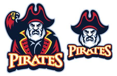 set of bearded senior pirate mascot
