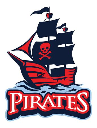 pirate ship in american sport mascot style