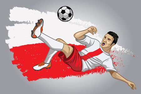 poland soccer player kicking the ball with poland flag background