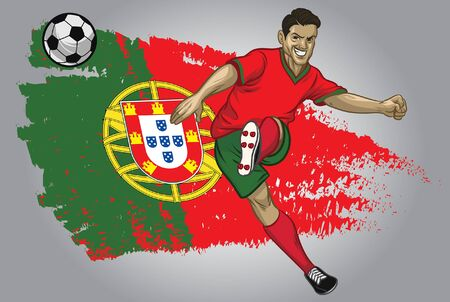 portugal soccer player kicking the ball with portugal flag background