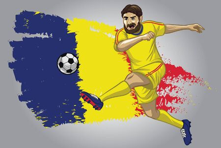 romania soccer player kicking the ball with romania flag background 矢量图像