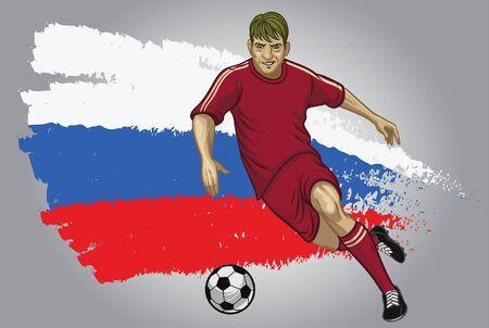 Russische voetballer die de bal dribbelt met de achtergrond van de Russische vlag Vector Illustratie