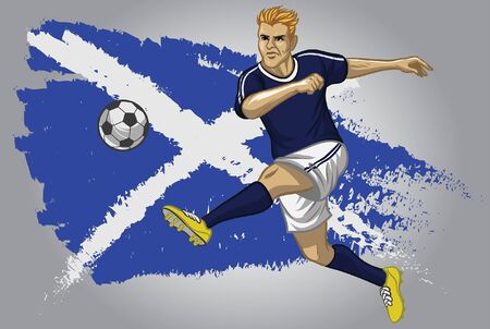 scotland soccer player kicking the ball with flag background
