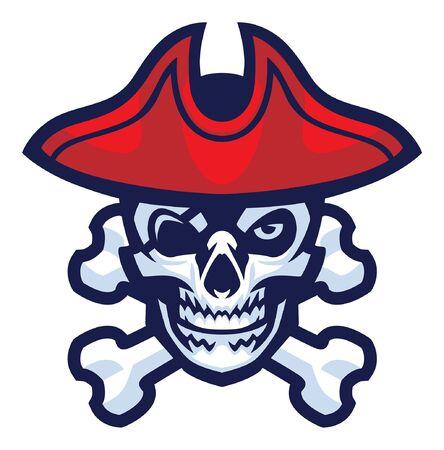 crâne de mascotte de pirate avec des os croisés