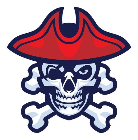 skull of pirate mascot with crossing bones