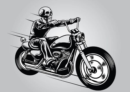 skull riding the chopper motorcycle 版權商用圖片 - 128159808