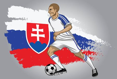slovakia soccer plater dribbling the ball with flag background Çizim