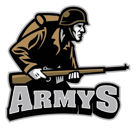 somdier army mascot hold the riffle 일러스트