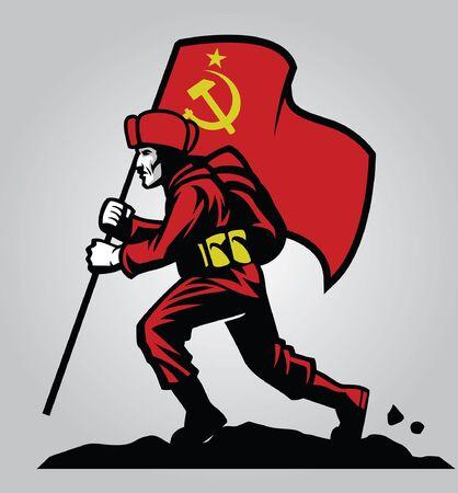 Żołnierz radziecki trzyma flagę hold