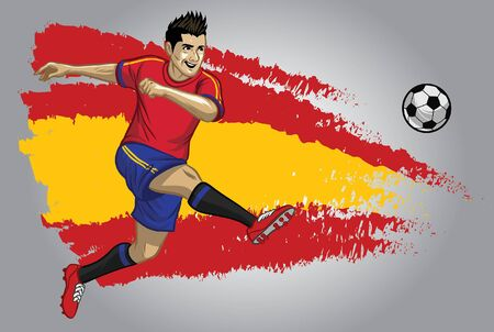 spanish soccer player kicking the ball with spain flag background