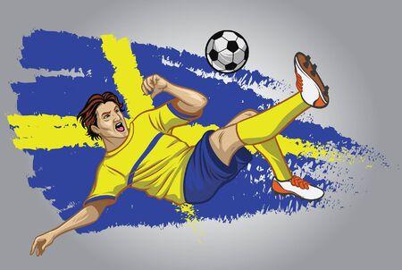 Schweden-Fußballspieler, der den Ball mit Schwedenflaggenhintergrund tritt Vektorgrafik