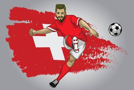 schweizer fußballspieler, der den ball mit schweizer flagge hintergrund tritt