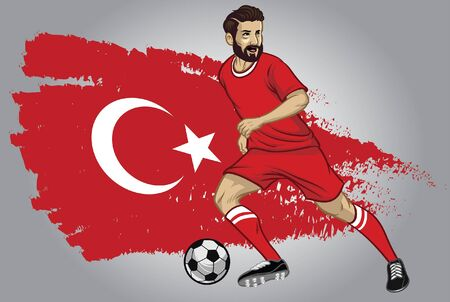 turkey soccer player dribbling the ball with turkey flag background