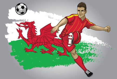 wales soccer player kicking the ball with wales flag background