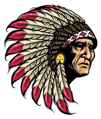 Dibujo a mano de la cabeza del jefe nativo americano
