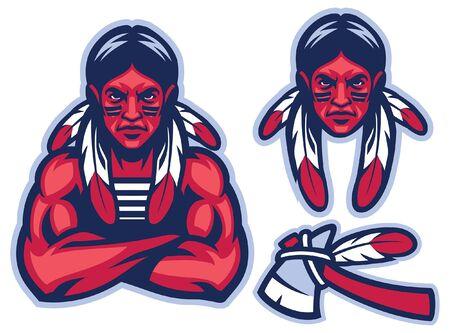 set of american native mascot warrior Illusztráció
