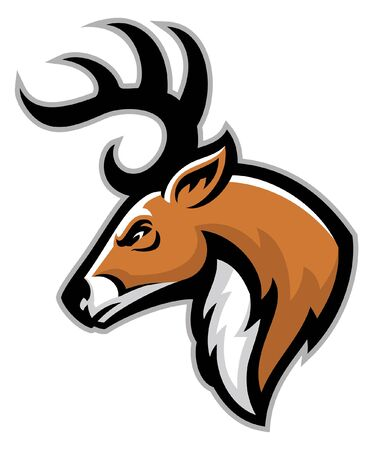 head of angry deer head mascot Illustration