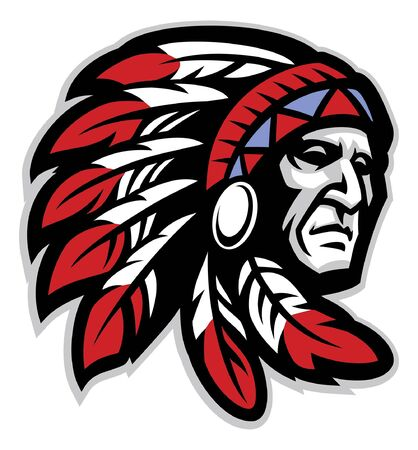 head mascot of american native chief