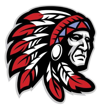 tête mascotte du chef indigène américain