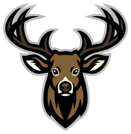 head mascot of deer with big antler