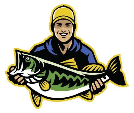 pêcheur montrer son gros poisson achigan à grande bouche