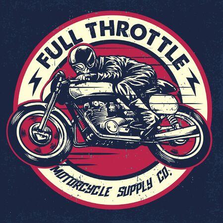 Insignia de carreras de carreras de motos en estilo vintage.