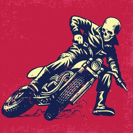 skull riding flat tracker motorcycle