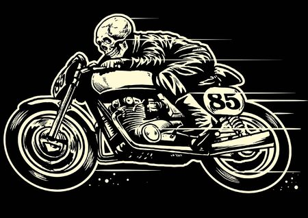 skull riding cafe racer motorcycle fast 免版税图像 - 128381836