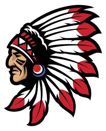 mascota de la cabeza del jefe indio
