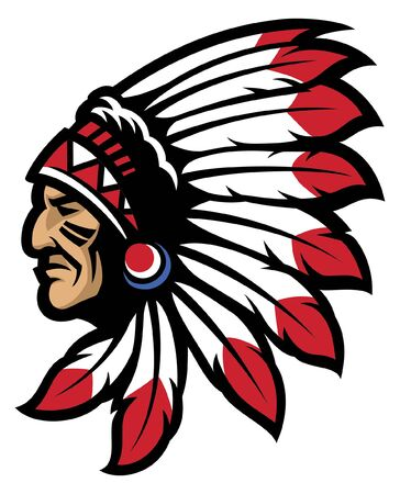 indian chief head mascot Illustration