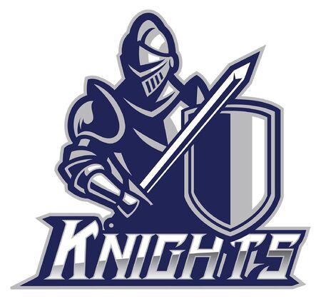 knight mascot in armor Illustration