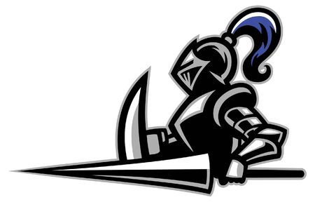 knight sport mascot with big sword