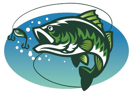 largemouth bass fish Ilustrace