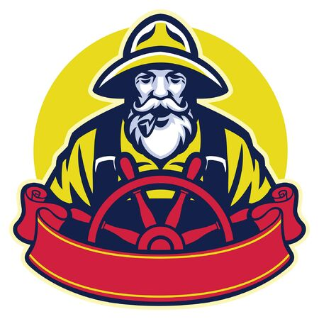 mascot of fisherman steering the ship wheel  イラスト・ベクター素材