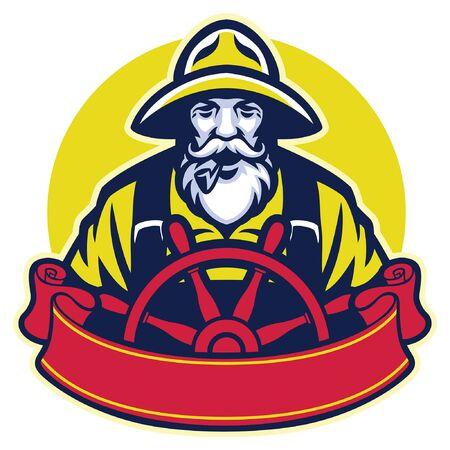 mascot of fisherman steering the ship wheel Illustration