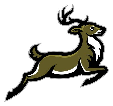 running deer in sport mascot style