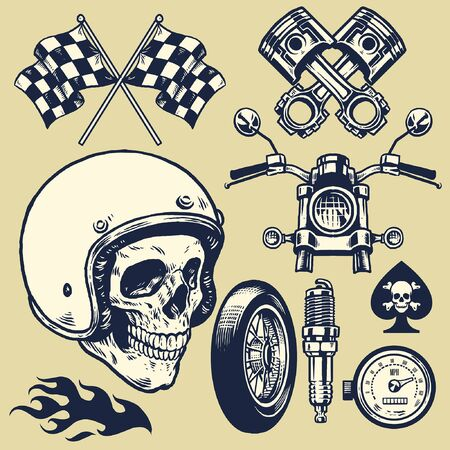 set of hand drawing vintage motorcycle culture concept
