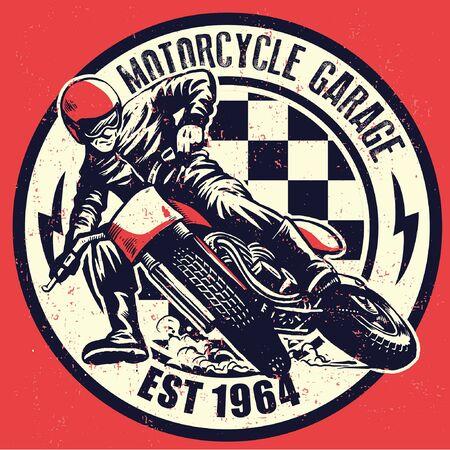 vintage hand drawing old motorcycle racing badge