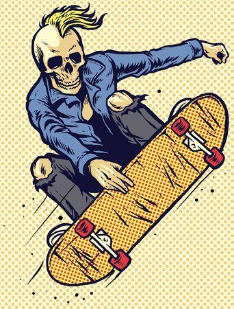 hand drawn skull playing skateboard