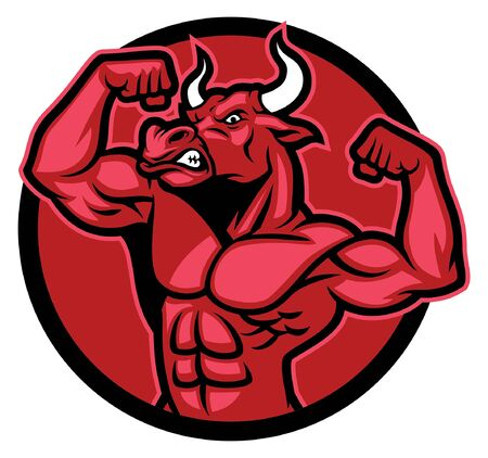 bull showing his athletic muscular body Stock Vector - 128382046