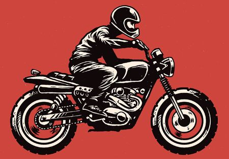 hand drawn style of man riding old motorcycle