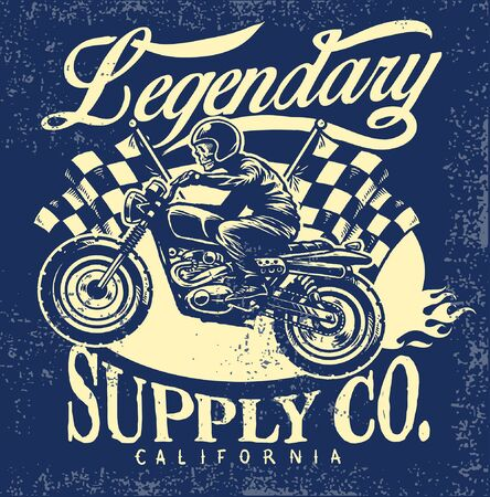 vintage t-shirt deign of motorcycle concept