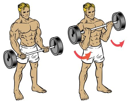 fitness man training by holding the barbell
