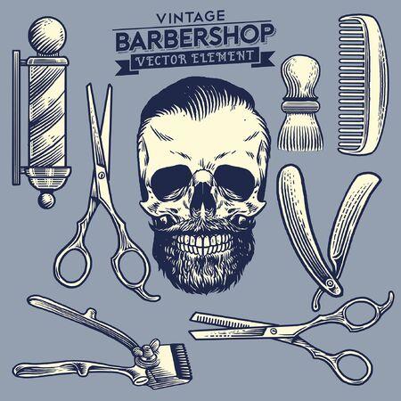 vintage illustration set of barbershop objects