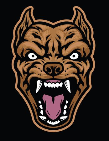 head of barking pitbull dog mascot
