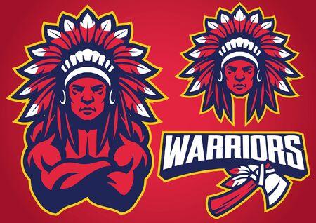 set of american native warrior mascot