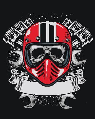 skull rider wearing vintage helmet motorcycle 向量圖像