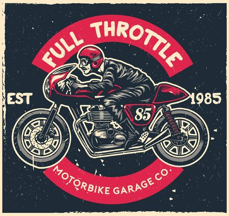 vintage textured design cafe racer motorcycle Illustration