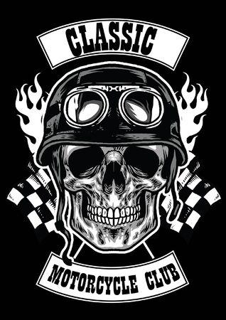 skull of motorcycle rider