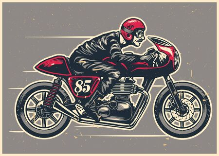 hand drawing of man riding cafe racer motorcycle 向量圖像